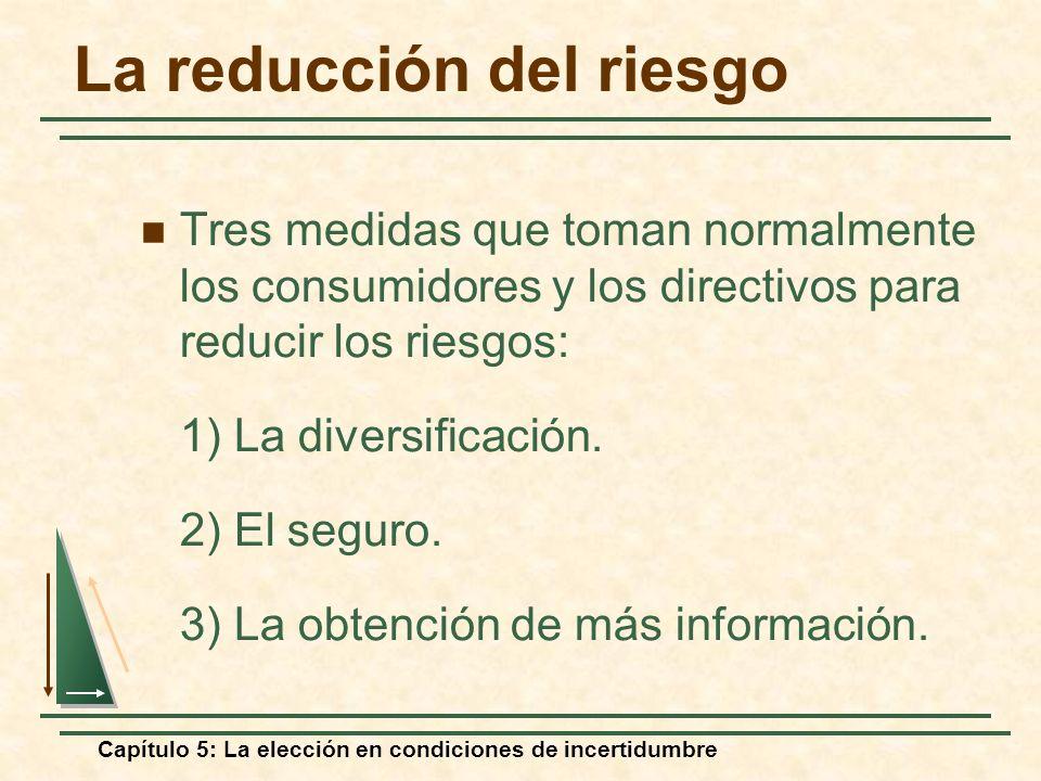 Capítulo 5: La elección en condiciones de incertidumbre La reducción del riesgo Tres medidas que toman normalmente los consumidores y los directivos p