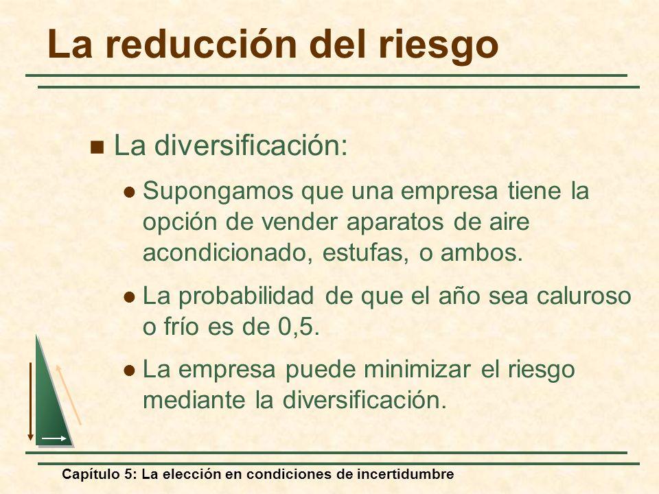 Capítulo 5: La elección en condiciones de incertidumbre La reducción del riesgo La diversificación: Supongamos que una empresa tiene la opción de vend