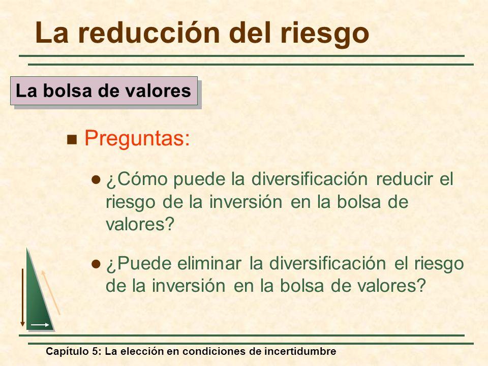 Capítulo 5: La elección en condiciones de incertidumbre La reducción del riesgo Preguntas: ¿Cómo puede la diversificación reducir el riesgo de la inve