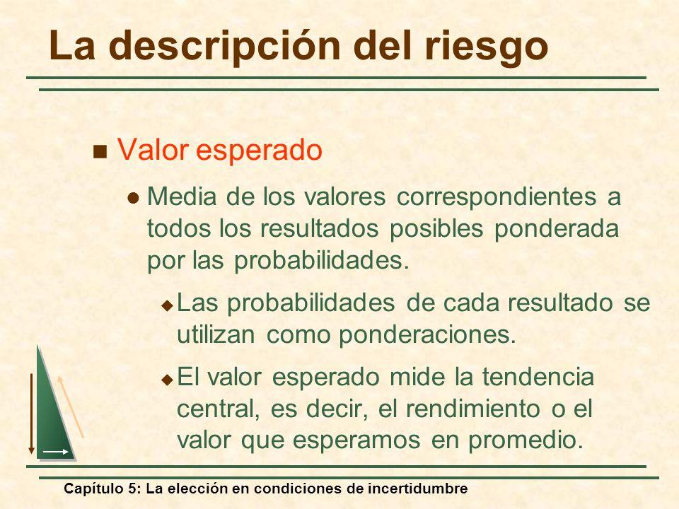 Capítulo 5: La elección en condiciones de incertidumbre La descripción del riesgo Valor esperado Media de los valores correspondientes a todos los res