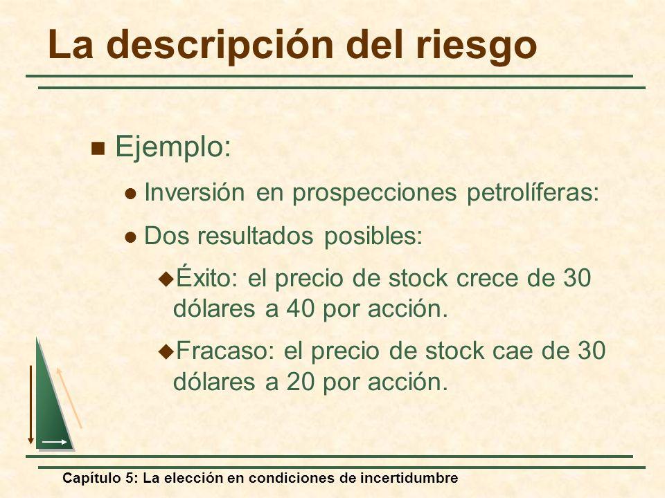 Capítulo 5: La elección en condiciones de incertidumbre La descripción del riesgo Ejemplo: Inversión en prospecciones petrolíferas: Dos resultados pos