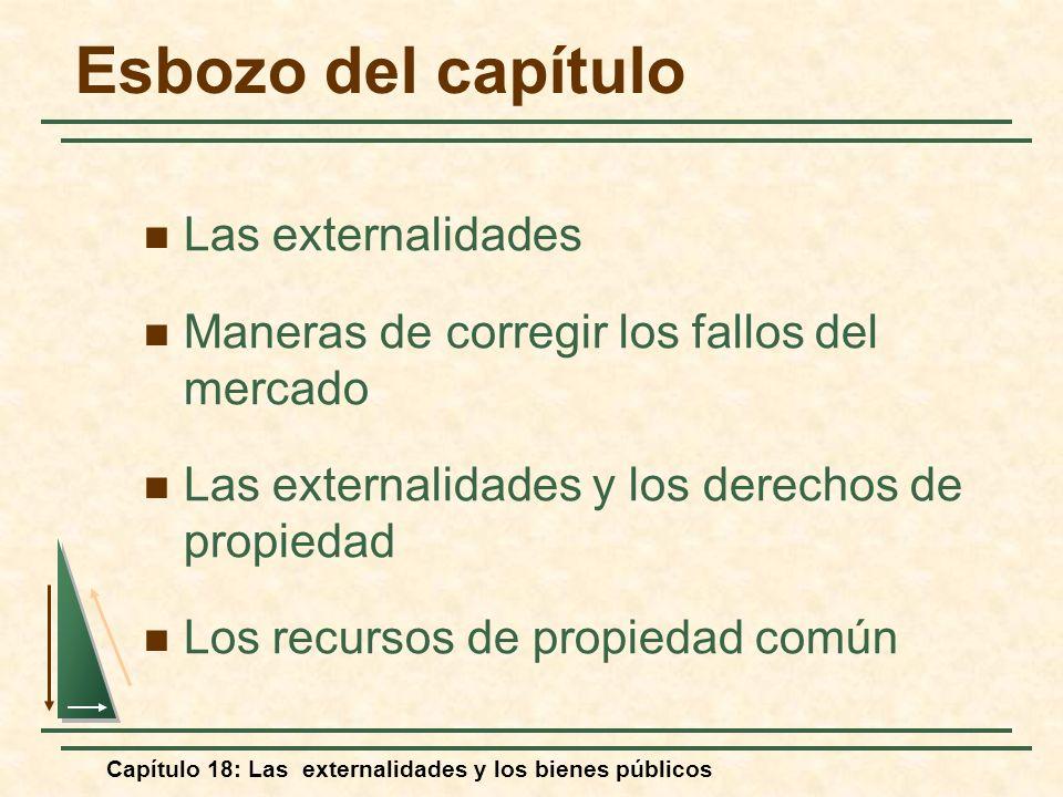 Capítulo 18: Las externalidades y los bienes públicos Esbozo del capítulo Las externalidades Maneras de corregir los fallos del mercado Las externalid