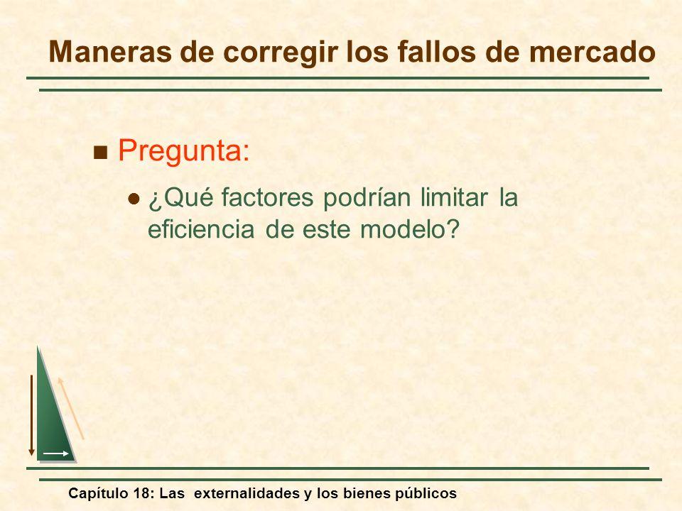Capítulo 18: Las externalidades y los bienes públicos Pregunta: ¿Qué factores podrían limitar la eficiencia de este modelo? Maneras de corregir los fa