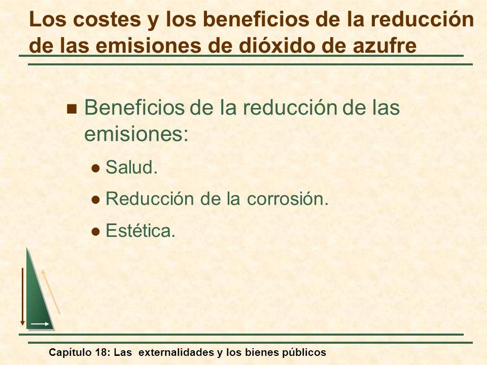 Capítulo 18: Las externalidades y los bienes públicos Beneficios de la reducción de las emisiones: Salud. Reducción de la corrosión. Estética. Los cos