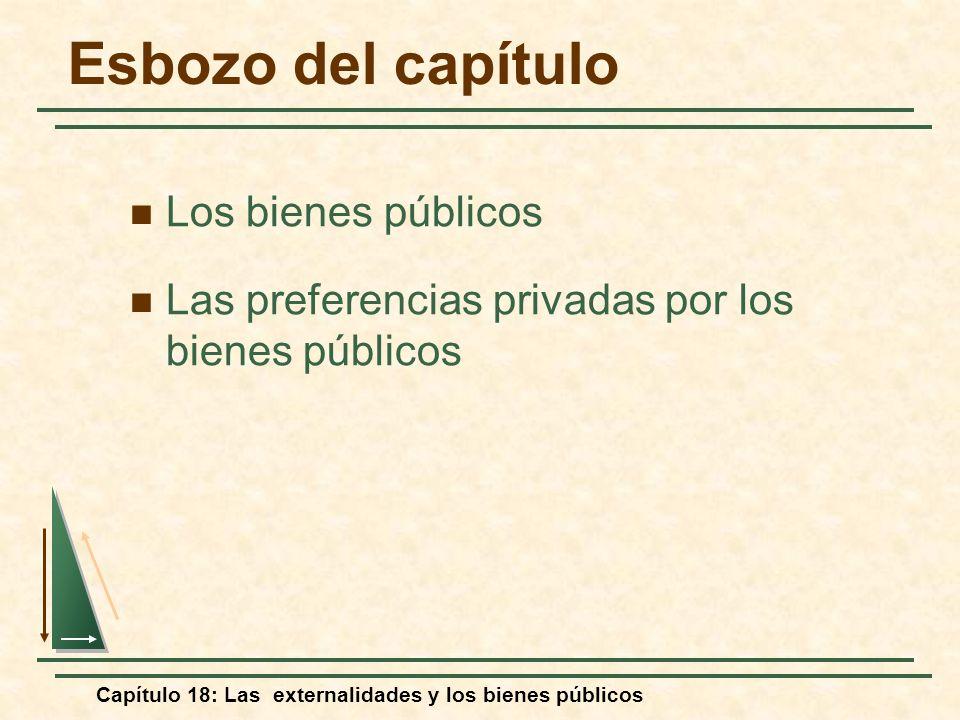 Capítulo 18: Las externalidades y los bienes públicos Los bienes públicos Las preferencias privadas por los bienes públicos Esbozo del capítulo