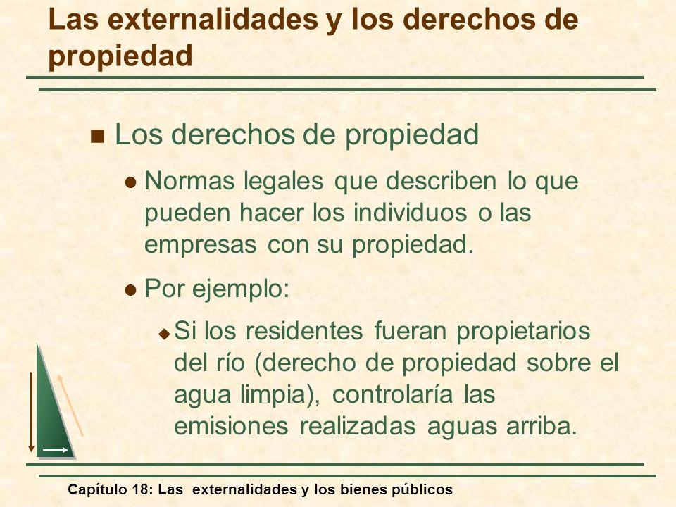 Capítulo 18: Las externalidades y los bienes públicos Las externalidades y los derechos de propiedad Los derechos de propiedad Normas legales que desc