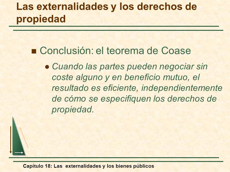 Capítulo 18: Las externalidades y los bienes públicos Conclusión: el teorema de Coase Cuando las partes pueden negociar sin coste alguno y en benefici