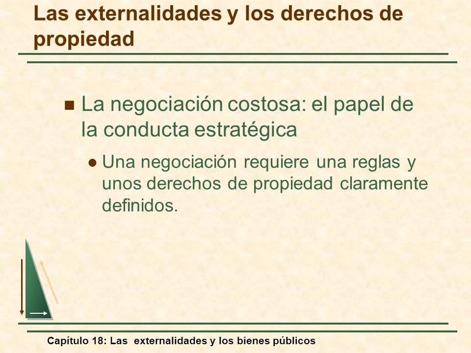 Capítulo 18: Las externalidades y los bienes públicos La negociación costosa: el papel de la conducta estratégica Una negociación requiere una reglas