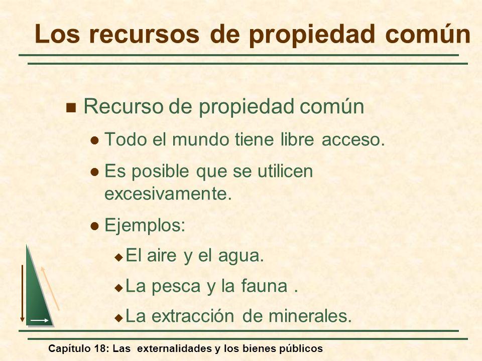 Capítulo 18: Las externalidades y los bienes públicos Los recursos de propiedad común Recurso de propiedad común Todo el mundo tiene libre acceso. Es