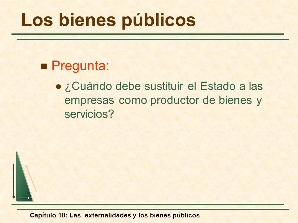 Capítulo 18: Las externalidades y los bienes públicos Los bienes públicos Pregunta: ¿Cuándo debe sustituir el Estado a las empresas como productor de