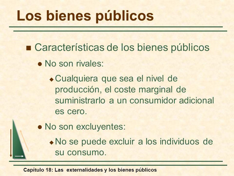 Capítulo 18: Las externalidades y los bienes públicos Características de los bienes públicos No son rivales: Cualquiera que sea el nivel de producción
