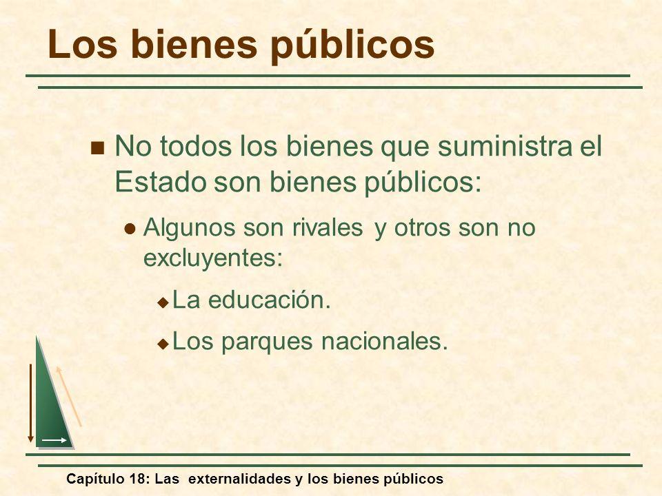 Capítulo 18: Las externalidades y los bienes públicos No todos los bienes que suministra el Estado son bienes públicos: Algunos son rivales y otros so