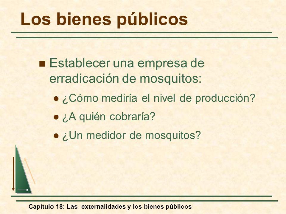 Capítulo 18: Las externalidades y los bienes públicos Establecer una empresa de erradicación de mosquitos: ¿Cómo mediría el nivel de producción? ¿A qu