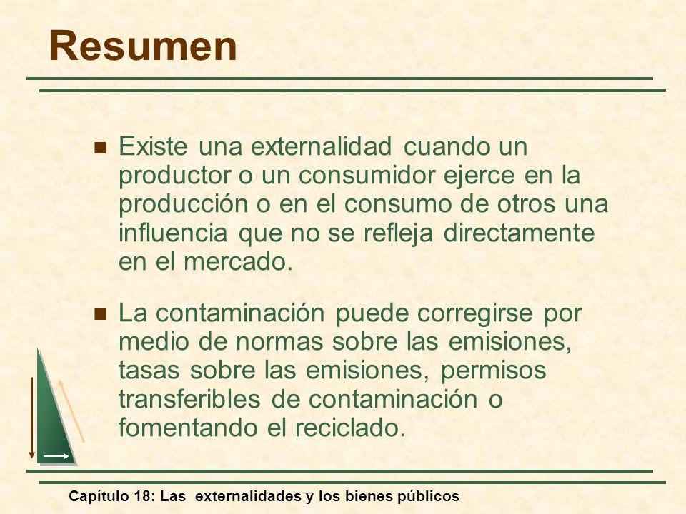 Capítulo 18: Las externalidades y los bienes públicos Resumen Existe una externalidad cuando un productor o un consumidor ejerce en la producción o en