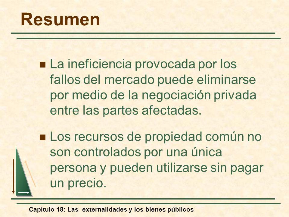 Capítulo 18: Las externalidades y los bienes públicos Resumen La ineficiencia provocada por los fallos del mercado puede eliminarse por medio de la ne