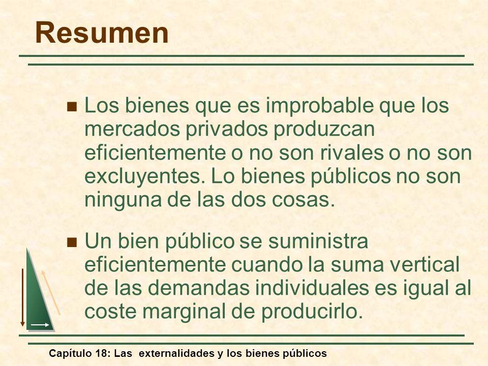 Capítulo 18: Las externalidades y los bienes públicos Resumen Los bienes que es improbable que los mercados privados produzcan eficientemente o no son