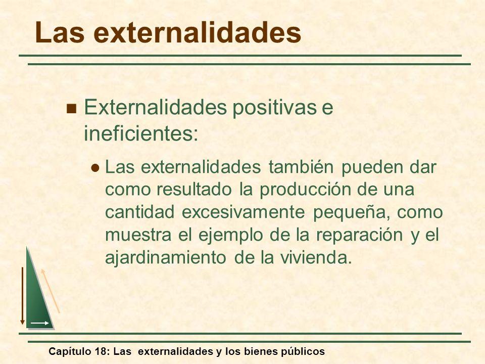 Capítulo 18: Las externalidades y los bienes públicos Las externalidades Externalidades positivas e ineficientes: Las externalidades también pueden da