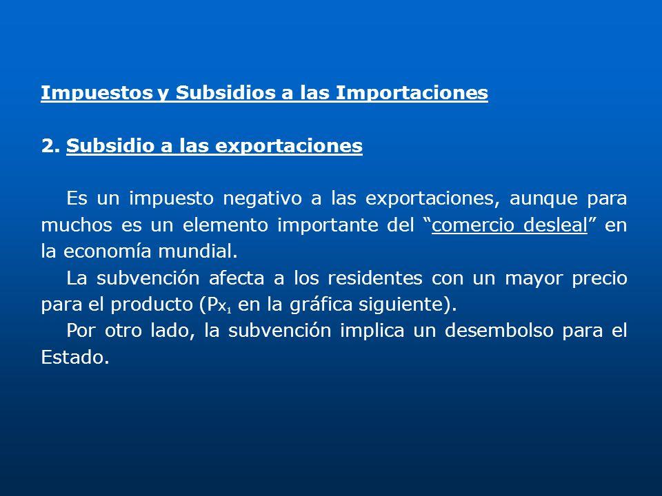 Impuestos y Subsidios a las Importaciones 2.Subsidio a las exportaciones Es un impuesto negativo a las exportaciones, aunque para muchos es un element