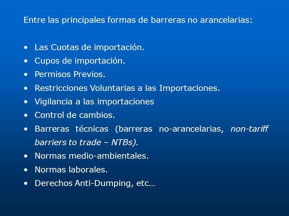 Entre las principales formas de barreras no arancelarias: Las Cuotas de importación. Cupos de importación. Permisos Previos. Restricciones Voluntarias