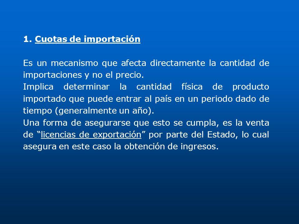 1. Cuotas de importación Es un mecanismo que afecta directamente la cantidad de importaciones y no el precio. Implica determinar la cantidad física de