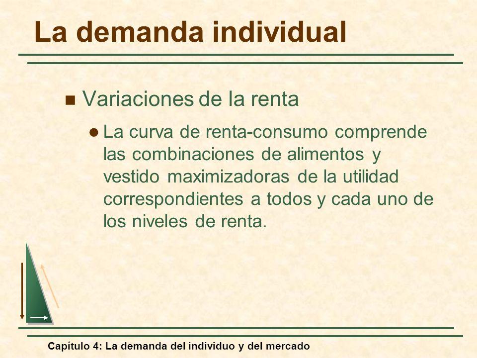Capítulo 4: La demanda del individuo y del mercado La demanda individual Variaciones de la renta La curva de renta-consumo comprende las combinaciones