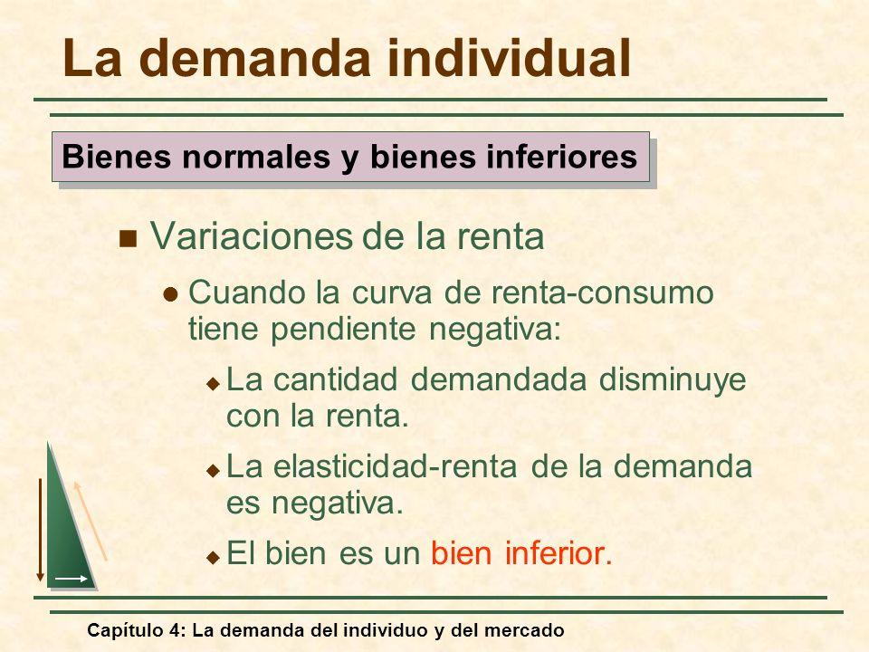 Capítulo 4: La demanda del individuo y del mercado La demanda individual Variaciones de la renta Cuando la curva de renta-consumo tiene pendiente nega