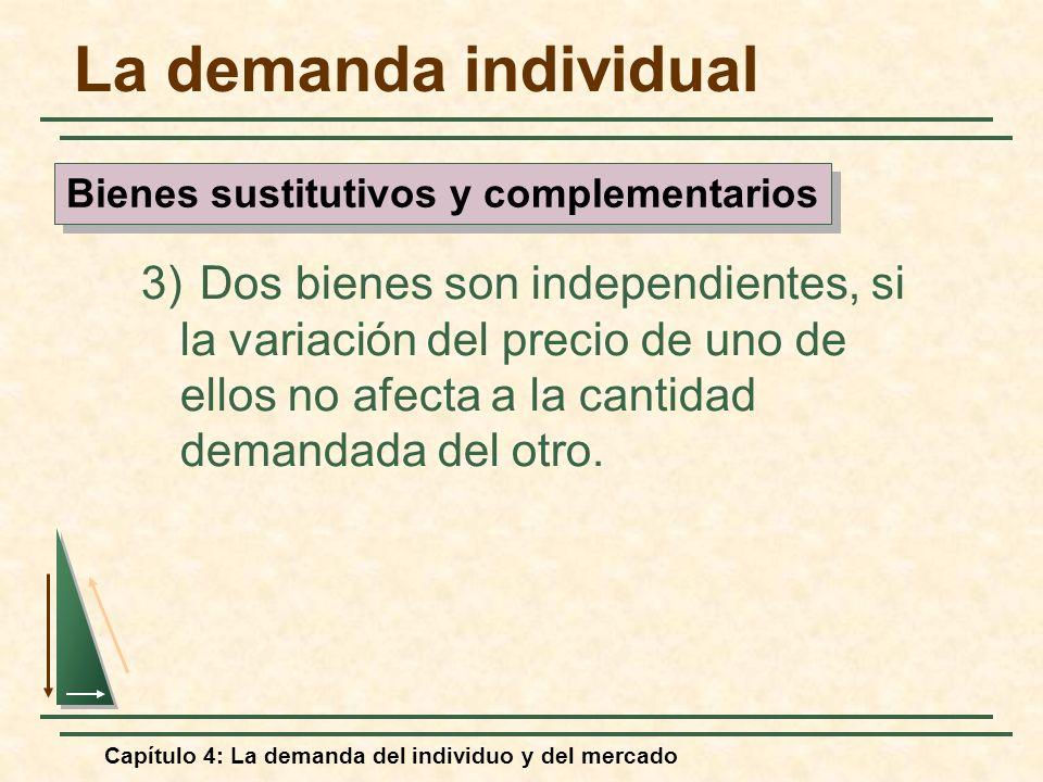 Capítulo 4: La demanda del individuo y del mercado La demanda individual 3) Dos bienes son independientes, si la variación del precio de uno de ellos