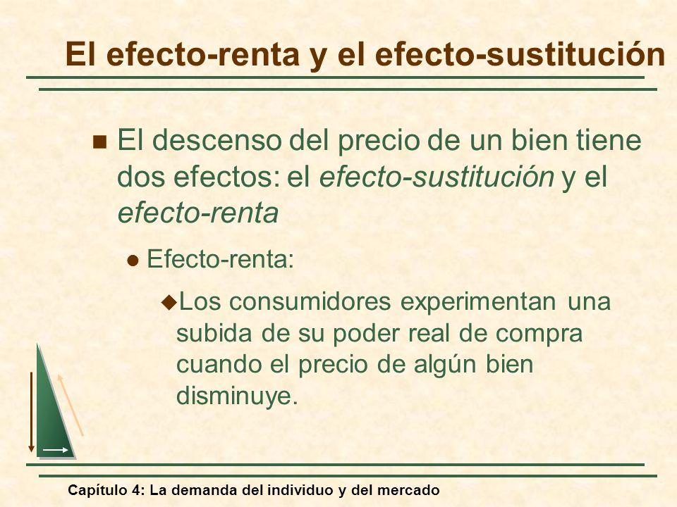 Capítulo 4: La demanda del individuo y del mercado El efecto-renta y el efecto-sustitución El descenso del precio de un bien tiene dos efectos: el efe