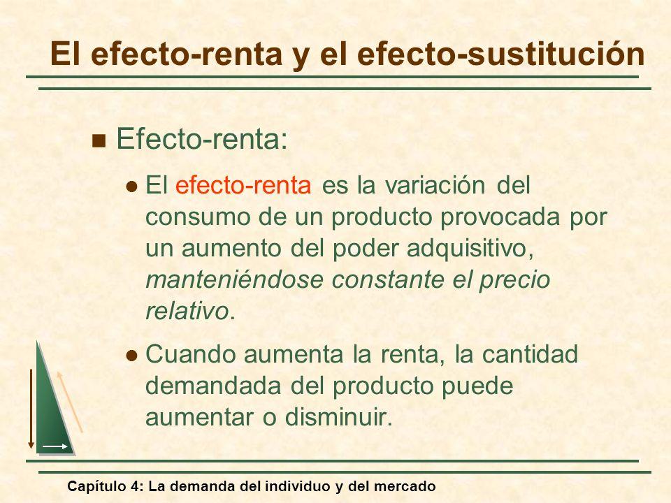 Capítulo 4: La demanda del individuo y del mercado El efecto-renta y el efecto-sustitución Efecto-renta: El efecto-renta es la variación del consumo d