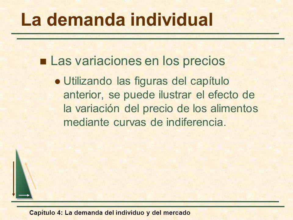Capítulo 4: La demanda del individuo y del mercado La demanda individual Las variaciones en los precios Utilizando las figuras del capítulo anterior,