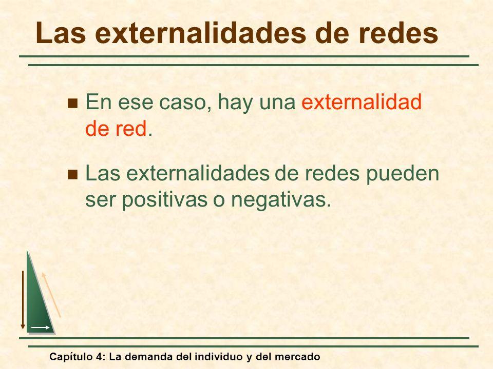 Capítulo 4: La demanda del individuo y del mercado Las externalidades de redes En ese caso, hay una externalidad de red. Las externalidades de redes p