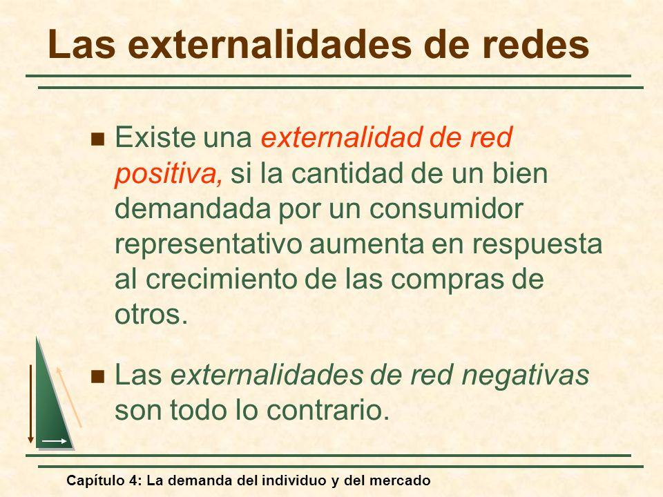 Capítulo 4: La demanda del individuo y del mercado Las externalidades de redes Existe una externalidad de red positiva, si la cantidad de un bien dema