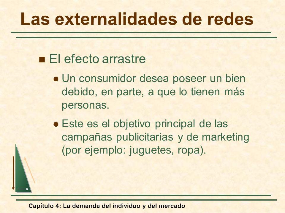 Capítulo 4: La demanda del individuo y del mercado Las externalidades de redes El efecto arrastre Un consumidor desea poseer un bien debido, en parte,