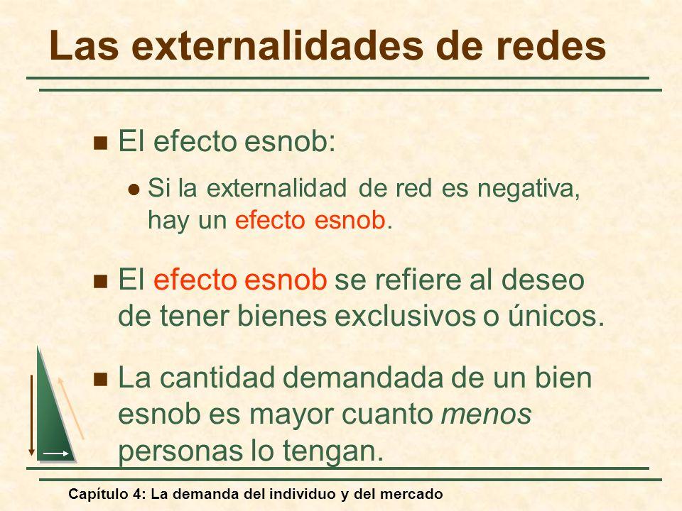 Capítulo 4: La demanda del individuo y del mercado Las externalidades de redes El efecto esnob: Si la externalidad de red es negativa, hay un efecto e