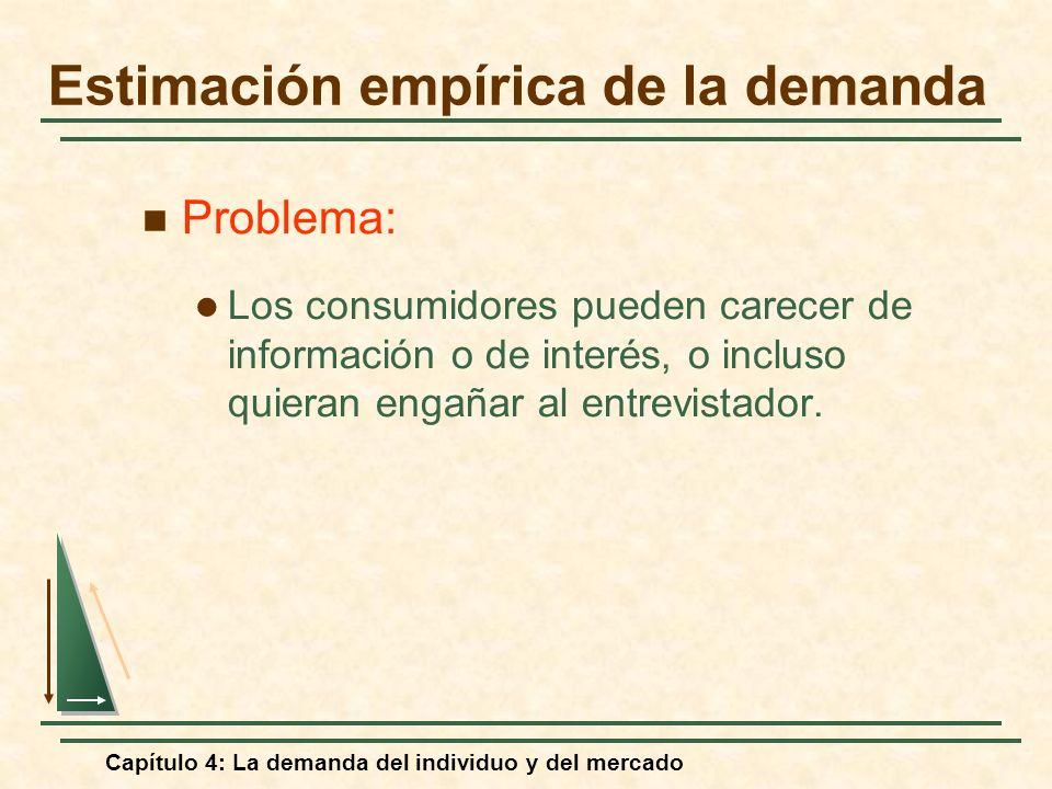 Capítulo 4: La demanda del individuo y del mercado Problema: Los consumidores pueden carecer de información o de interés, o incluso quieran engañar al