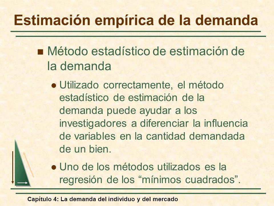 Capítulo 4: La demanda del individuo y del mercado Método estadístico de estimación de la demanda Utilizado correctamente, el método estadístico de es