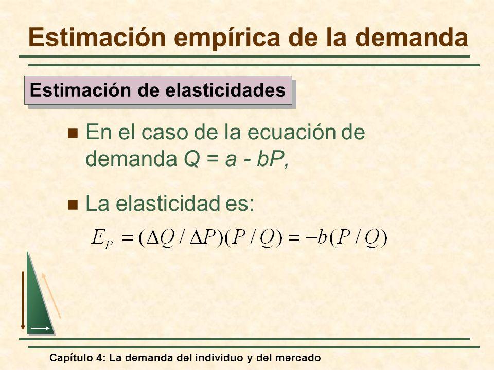 Capítulo 4: La demanda del individuo y del mercado En el caso de la ecuación de demanda Q = a - bP, La elasticidad es: Estimación de elasticidades Est