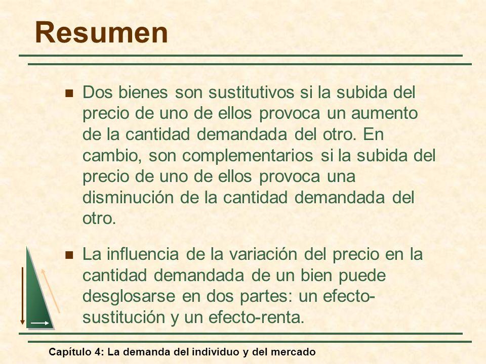 Capítulo 4: La demanda del individuo y del mercado Resumen Dos bienes son sustitutivos si la subida del precio de uno de ellos provoca un aumento de l