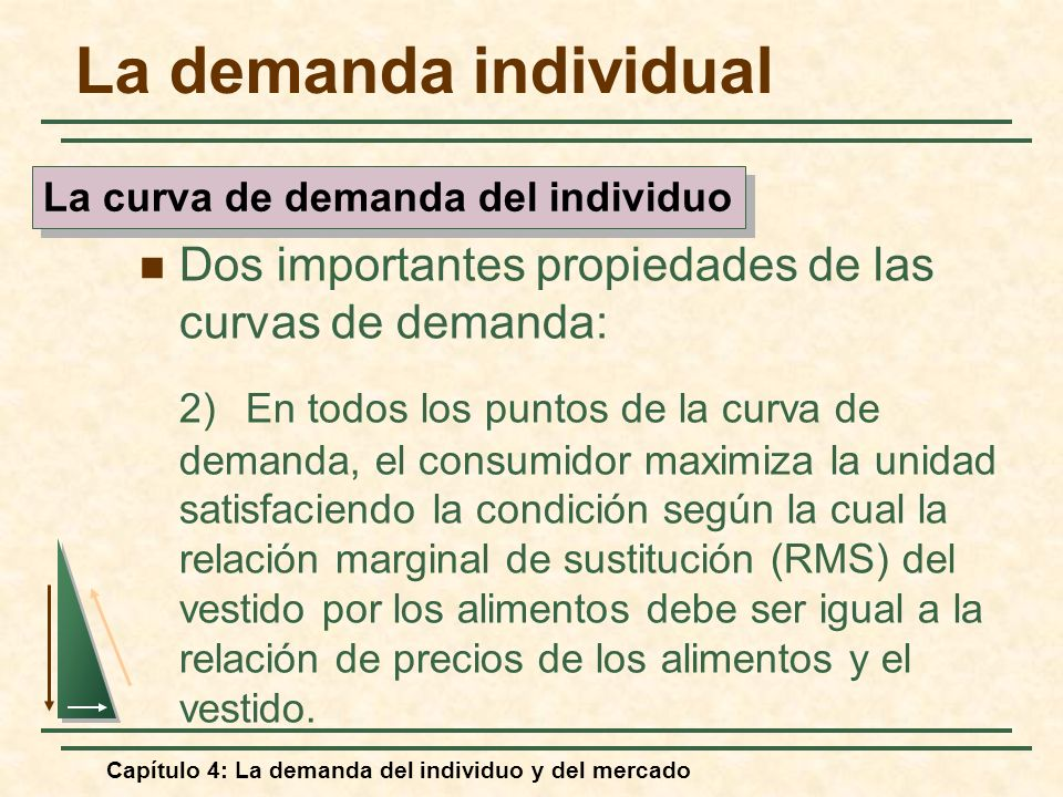 Capítulo 4: La demanda del individuo y del mercado La demanda individual Dos importantes propiedades de las curvas de demanda: 2)En todos los puntos d