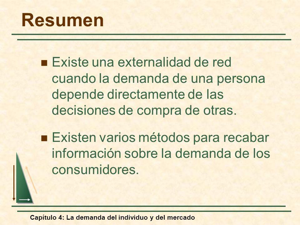 Capítulo 4: La demanda del individuo y del mercado Resumen Existe una externalidad de red cuando la demanda de una persona depende directamente de las
