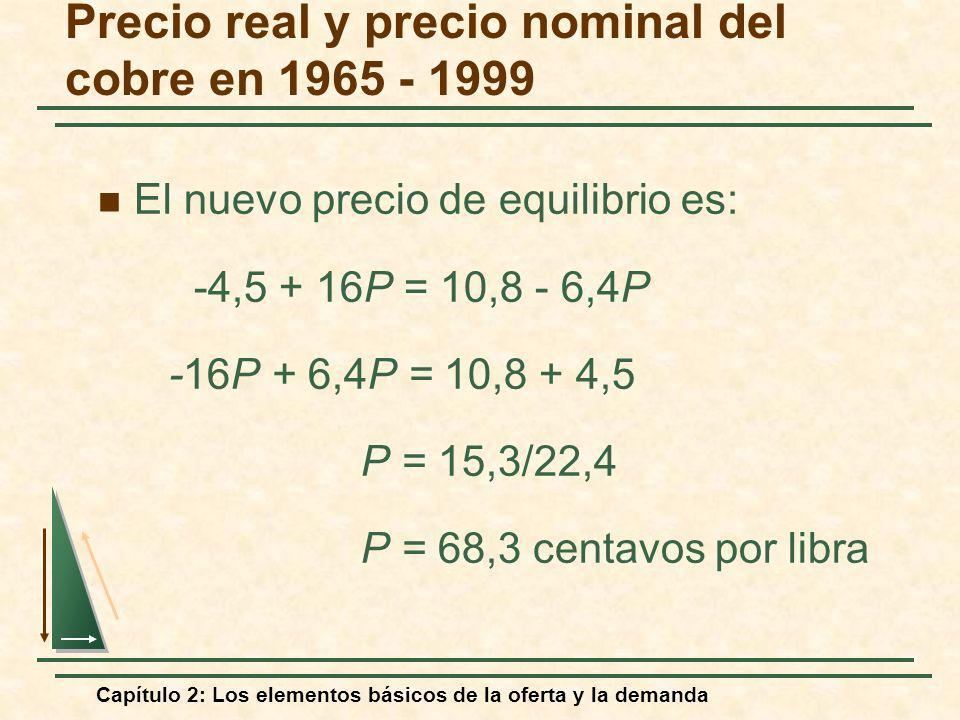 Capítulo 2: Los elementos básicos de la oferta y la demanda El nuevo precio de equilibrio es: -4,5 + 16P = 10,8 - 6,4P -16P + 6,4P = 10,8 + 4,5 P = 15