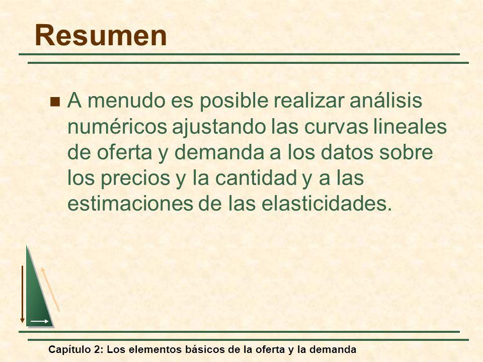 Capítulo 2: Los elementos básicos de la oferta y la demanda Resumen A menudo es posible realizar análisis numéricos ajustando las curvas lineales de o