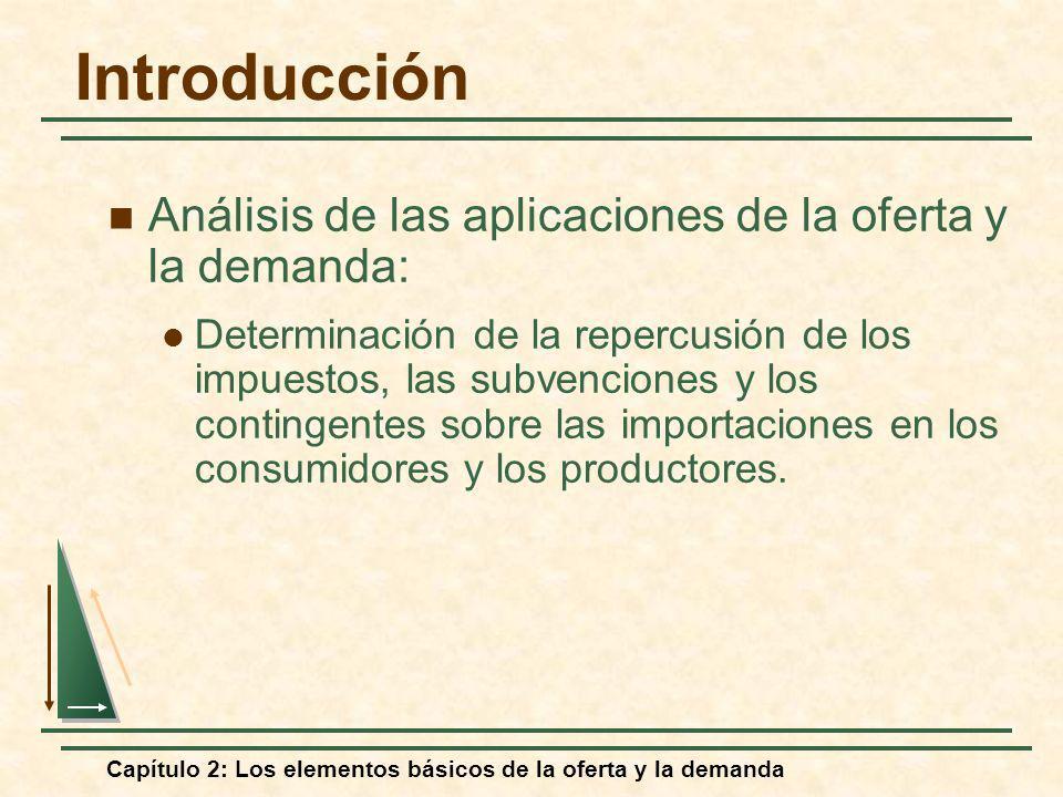 Capítulo 2: Los elementos básicos de la oferta y la demanda Aplicamos este procedimiento al ejemplo de la oferta y la demanda a largo plazo del cobre: Las cifras relevantes son: Q* = 7,5 millones de toneladas métricas al año (Tm/a) P* = 75 centavos por libra E S = 1,6 E D = -0,8 Comprensión y predicción de los efectos de los cambios de la situación del mercado