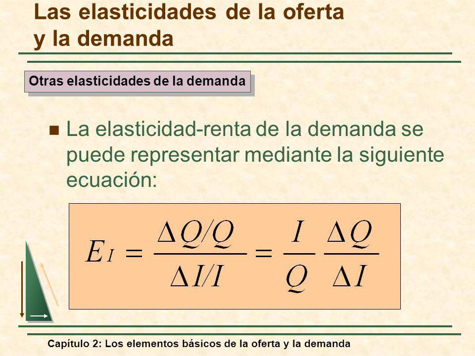 Capítulo 2: Los elementos básicos de la oferta y la demanda Las elasticidades de la oferta y la demanda La elasticidad-renta de la demanda se puede re