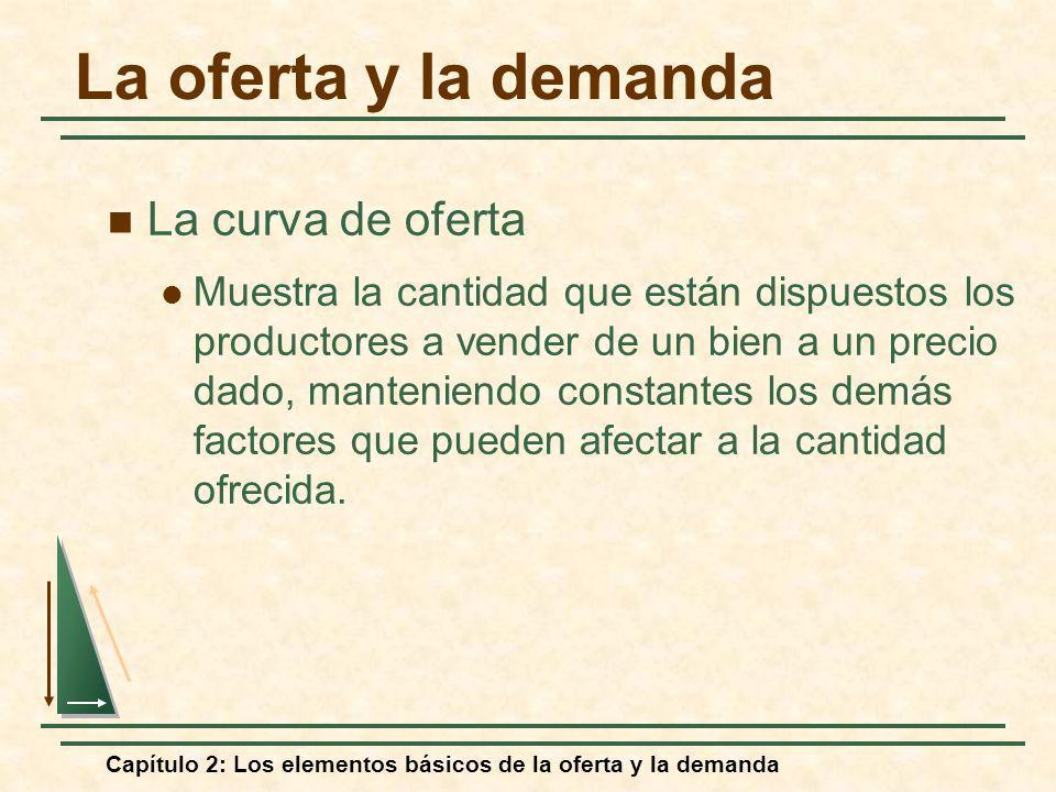 Capítulo 2: Los elementos básicos de la oferta y la demanda La oferta y la demanda La curva de oferta Muestra la cantidad que están dispuestos los pro