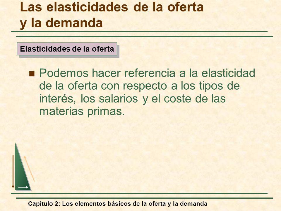 Capítulo 2: Los elementos básicos de la oferta y la demanda Las elasticidades de la oferta y la demanda Podemos hacer referencia a la elasticidad de l