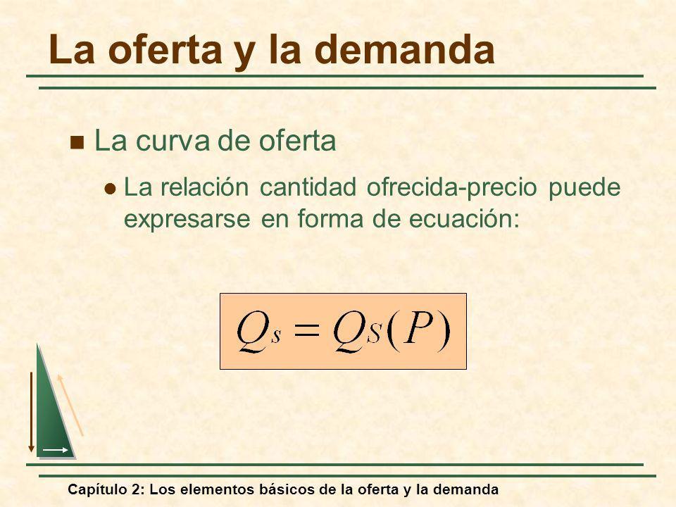 Capítulo 2: Los elementos básicos de la oferta y la demanda Oferta = Q S * = c + dP* 7,5 = c + 16(0,75) 7,5 = c + 12 c = 7,5 - 12 c = -4,5 Q = -4,5 + 16P Demanda = Q D * = a -bP* 7,5 = a -(8)(0,75) 7,5 = a - 6 a = 7,5 + 6 a =13,5 Q = 13,5 - 8P Comprensión y predicción de los efectos de los cambios de la situación del mercado