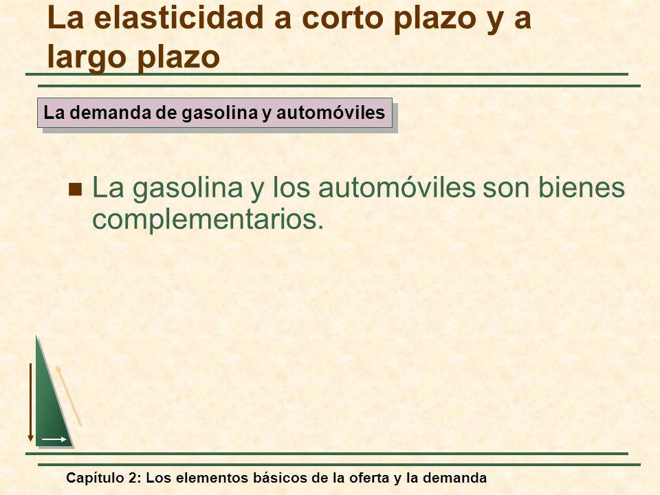 Capítulo 2: Los elementos básicos de la oferta y la demanda La gasolina y los automóviles son bienes complementarios. La elasticidad a corto plazo y a