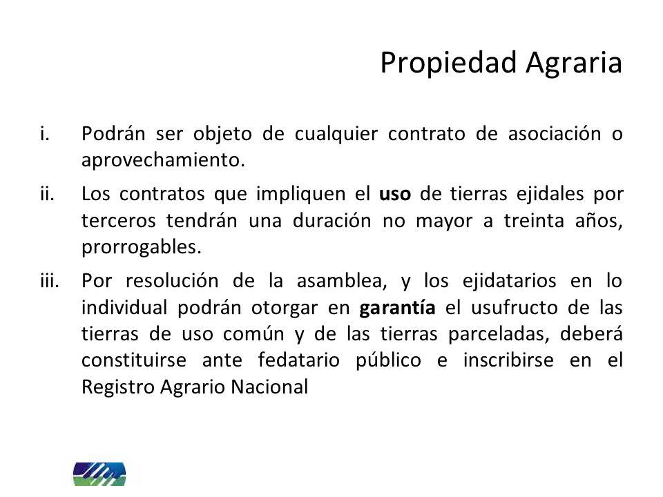 i.Podrán ser objeto de cualquier contrato de asociación o aprovechamiento. ii.Los contratos que impliquen el uso de tierras ejidales por terceros tend