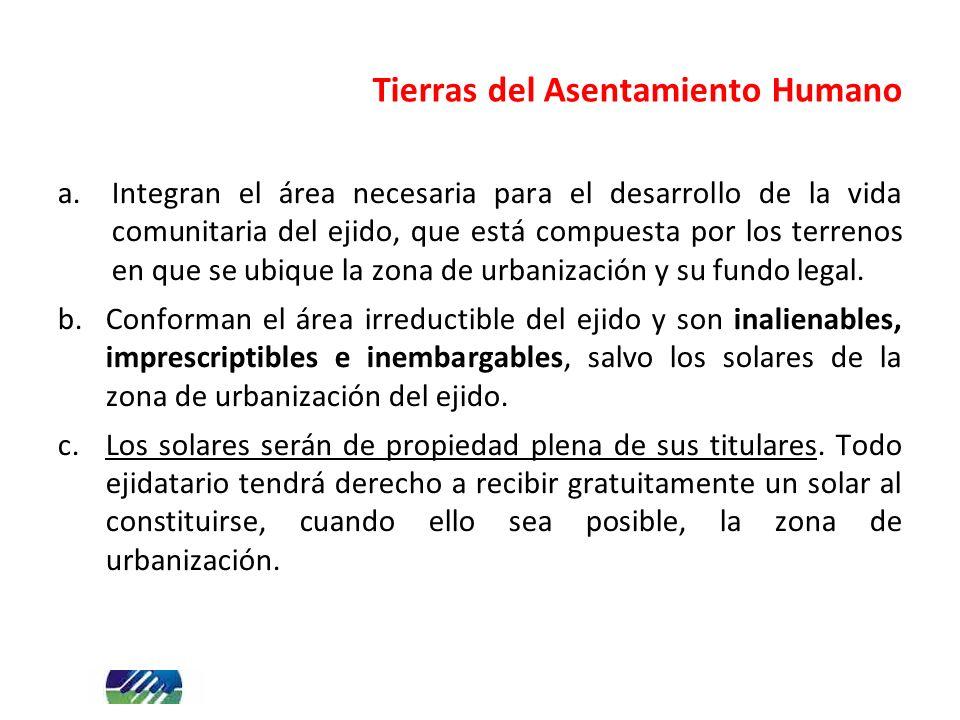 Tierras del Asentamiento Humano a.Integran el área necesaria para el desarrollo de la vida comunitaria del ejido, que está compuesta por los terrenos